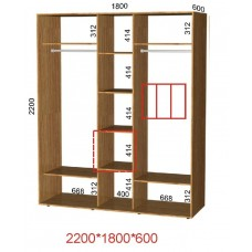 Шкаф-купе ширина 1,8 м высота 2,2 м глубина 0,6 м